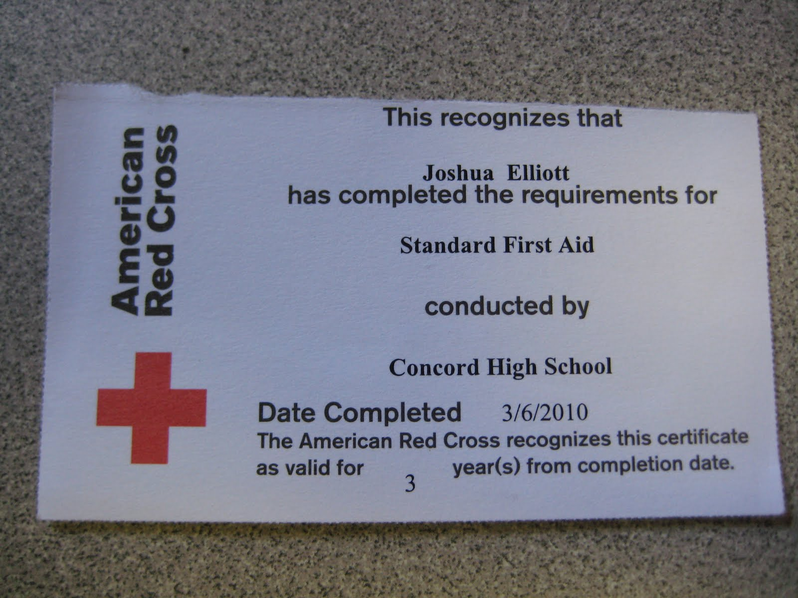 ... Project: Received Red Cross CPR & First Aid Certification Cards