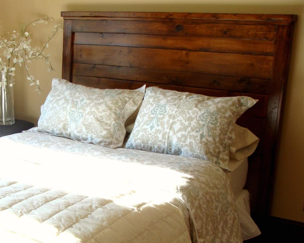 DIY Reclaimed Wood Headboard King Size Bed