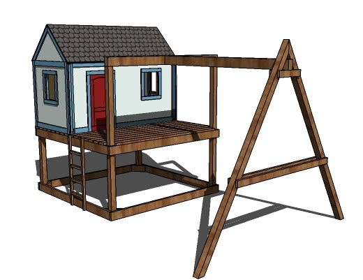 This swingset can also be used freestanding. It's pretty simple to build and ...