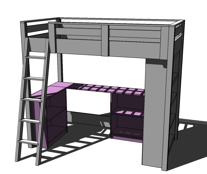 Loft Beds with Desk and Bookcase Plans 693 x 580