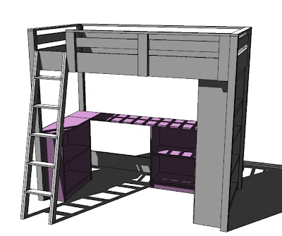 bunk bed plans full over desk