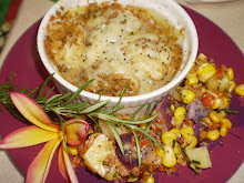 Scallops Augratin and Corn & Potato Salad