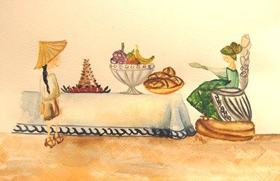 """""""Banquete en el castillo del dragón"""". Acuarela. Magdalena Sotta."""