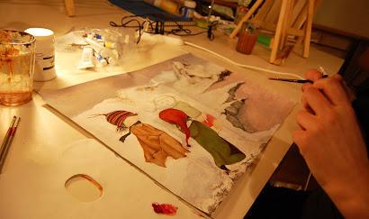 Asunción Duke pintando una acuarela en acrílico sobre papel