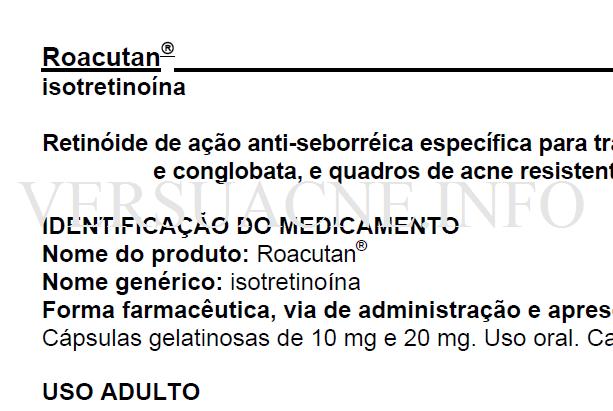 Roacuta (isotretinoina) Bula Uso Adulto