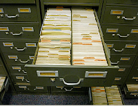 Card cabinent. Six million Migration Cards are categorized by species and locality (photo USCG)