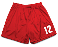 red soccer shorts with number 12