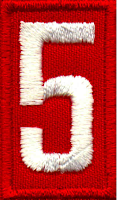 Red Boy Scout patch with number 5
