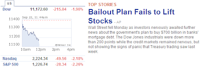 Bailout Fail to lift stocks