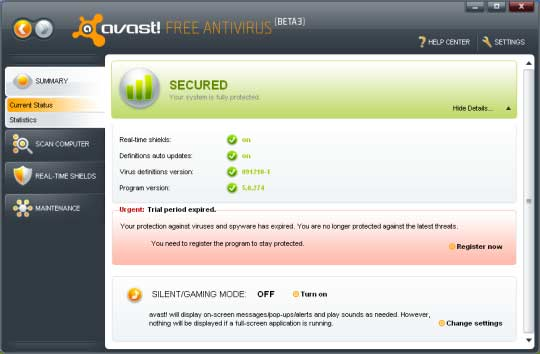 Screenshoot Avast Free Antivirus 5.0.545
