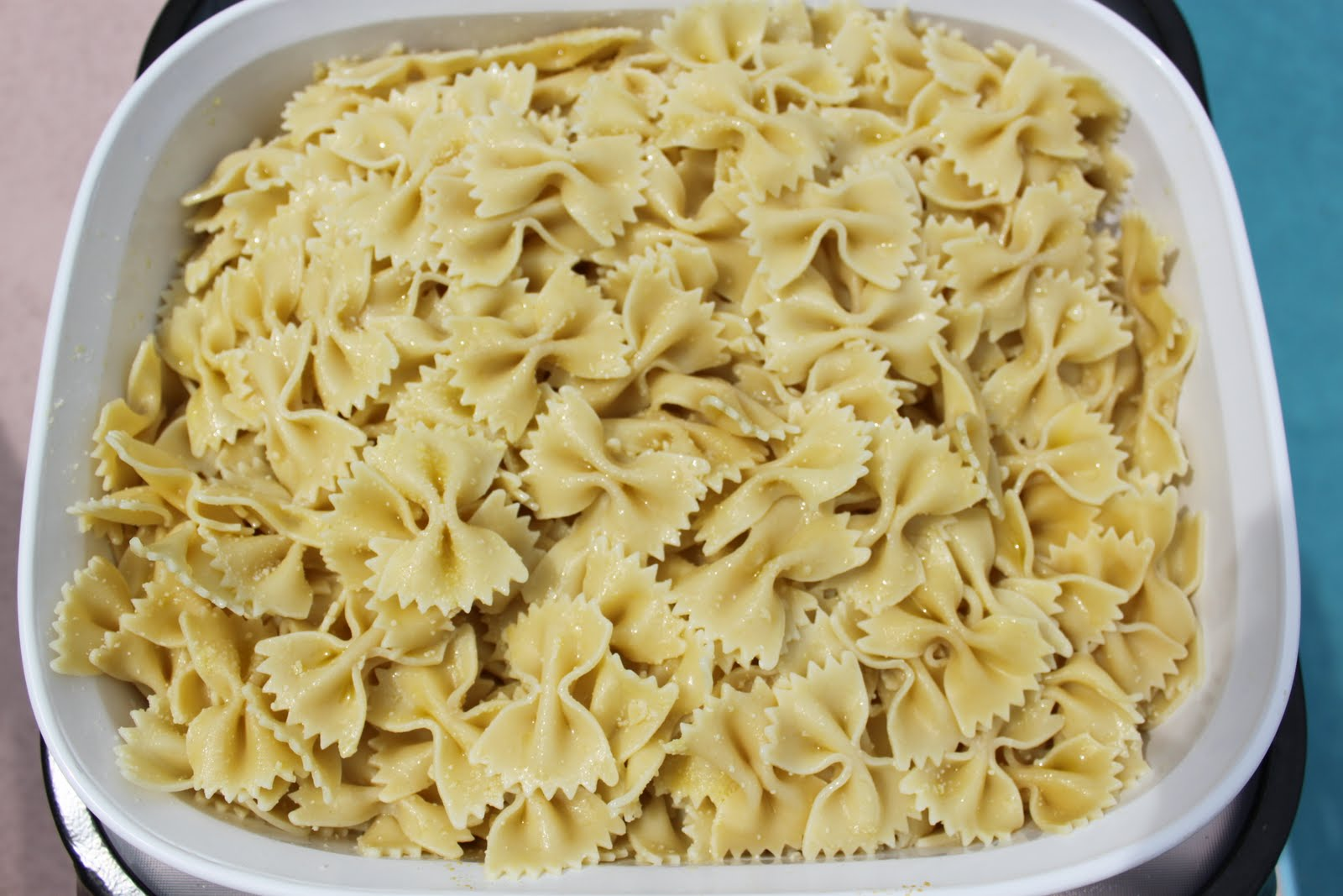 Bow Tie Pasta boiled in salted water al dente'.