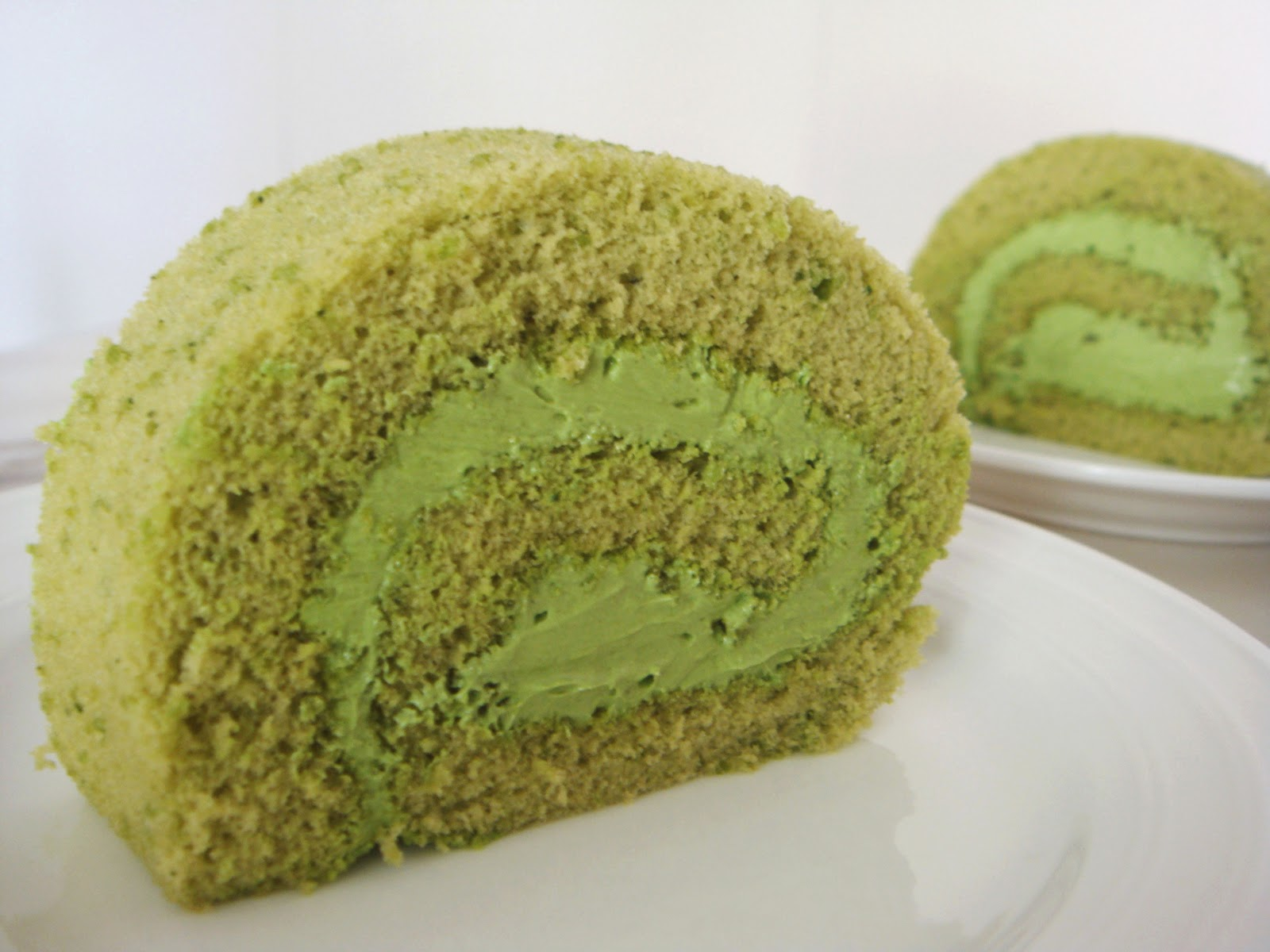 Decorated Green Tea Roll Cake