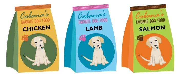 illustration of three bags of dog food with illustrated Cabana on the front of each bag, says Cabana's Favorite Dog Food, each bag has a different flavor, chicken, lamb and salmon