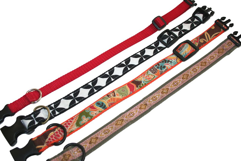 four handmade dog collars in a variety of colors