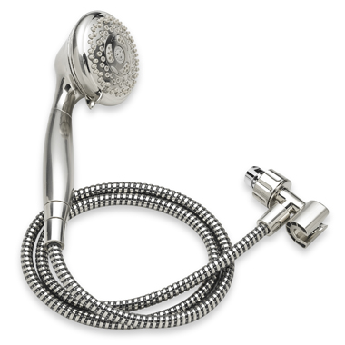 a stock photo of a silver handheld waterpik showerhead with 5 foot hose