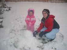 Building a snow man.