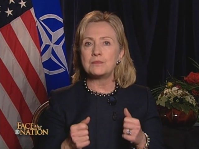 HRC Secretary of State interview Lisbon Portugal NATO CBS News Face The Nation