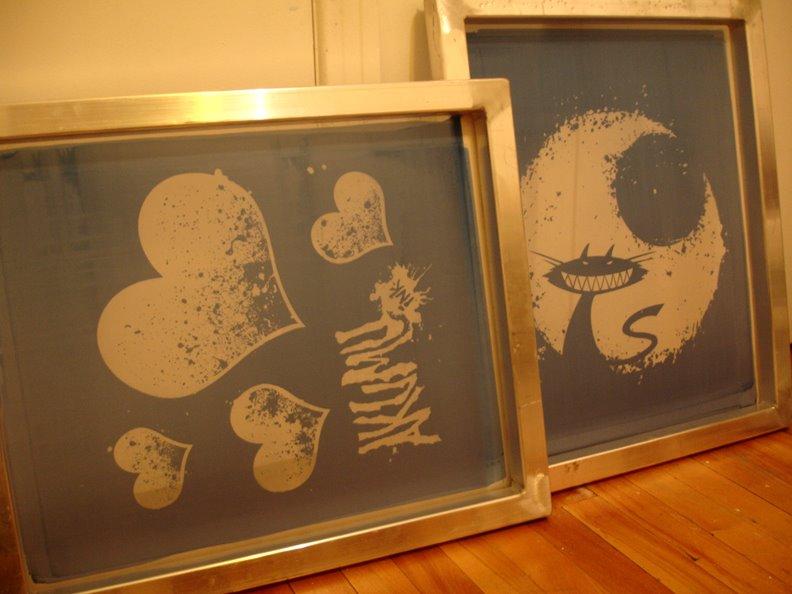 cheshire cat hearts silkscreen prints
