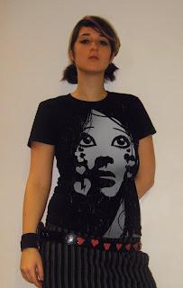 emo shirt, crying girl, american apparel tshirt