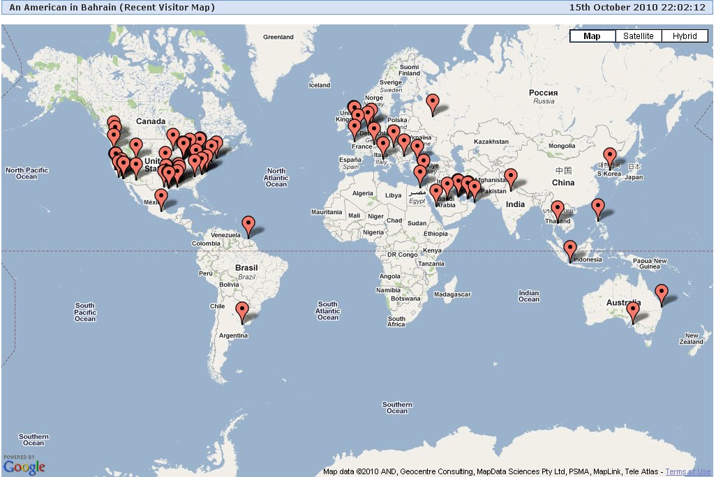 Blog Map--Now serving 6 continents (see second map for Africa)