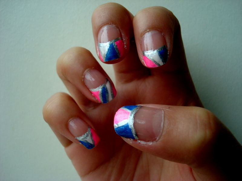 Crystals Nail Designs Pink Blue White Tips With Silver Outlines