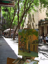 painting abroad plein air, barcelone on picture
