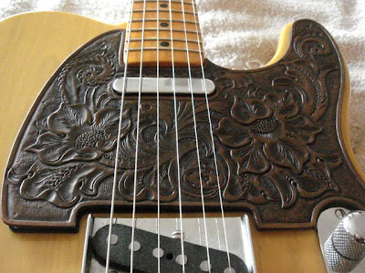 Custom Leather telecaster pickguard by M.K. Holloway Custom Leather