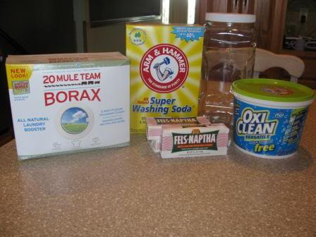 Borax, Washing Soda, Fels-Naptha Soap and Oxi-Clean (Billy Mays would be proud.)