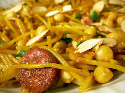 Dispensing Happiness: Spaghetti with Chorizo & Almonds