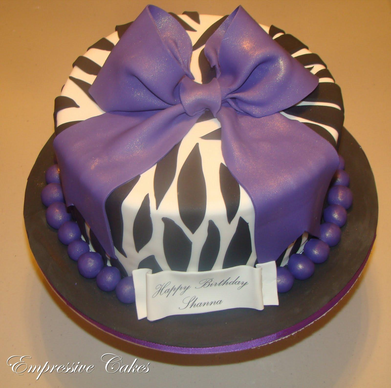 Empressive Cakes: Zebra Print Cake With Purple Bow