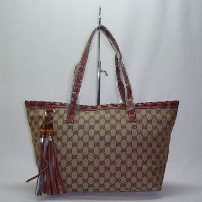 tas branded GUCCI TOTE TASSELS CANVAS