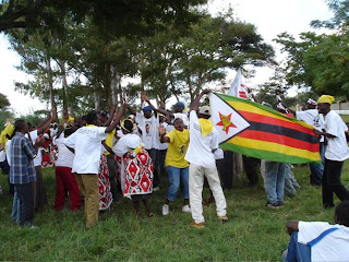 MDC supporters in red and Makoni supporters in yellow join together in unity
