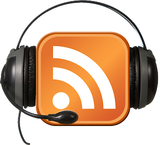 picture of a rss feed with headphones on top