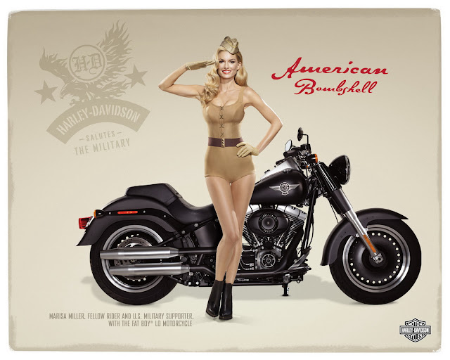 Marissa Miller and Harley Davidson pin up