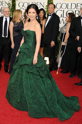 Catherine Zeta Jones Lovely With Emerald Green Gown And Diamond earrings