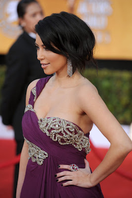 Kim Kardashian Lovely In A Deep Plum With A One Shoulder Design