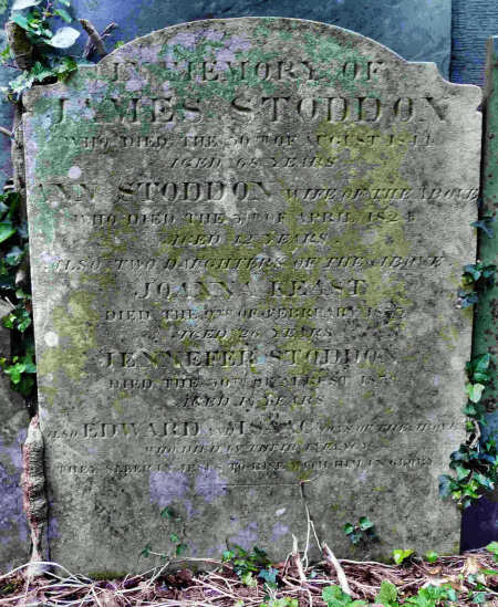 James Stoddon Headstone Records Death of 42 yr Old Wife, 2 Infants, 2 Young Daughters