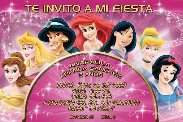 INVITACIONES DIGITALES (princesas,Dragon ball z,campanita,bob esponja ...