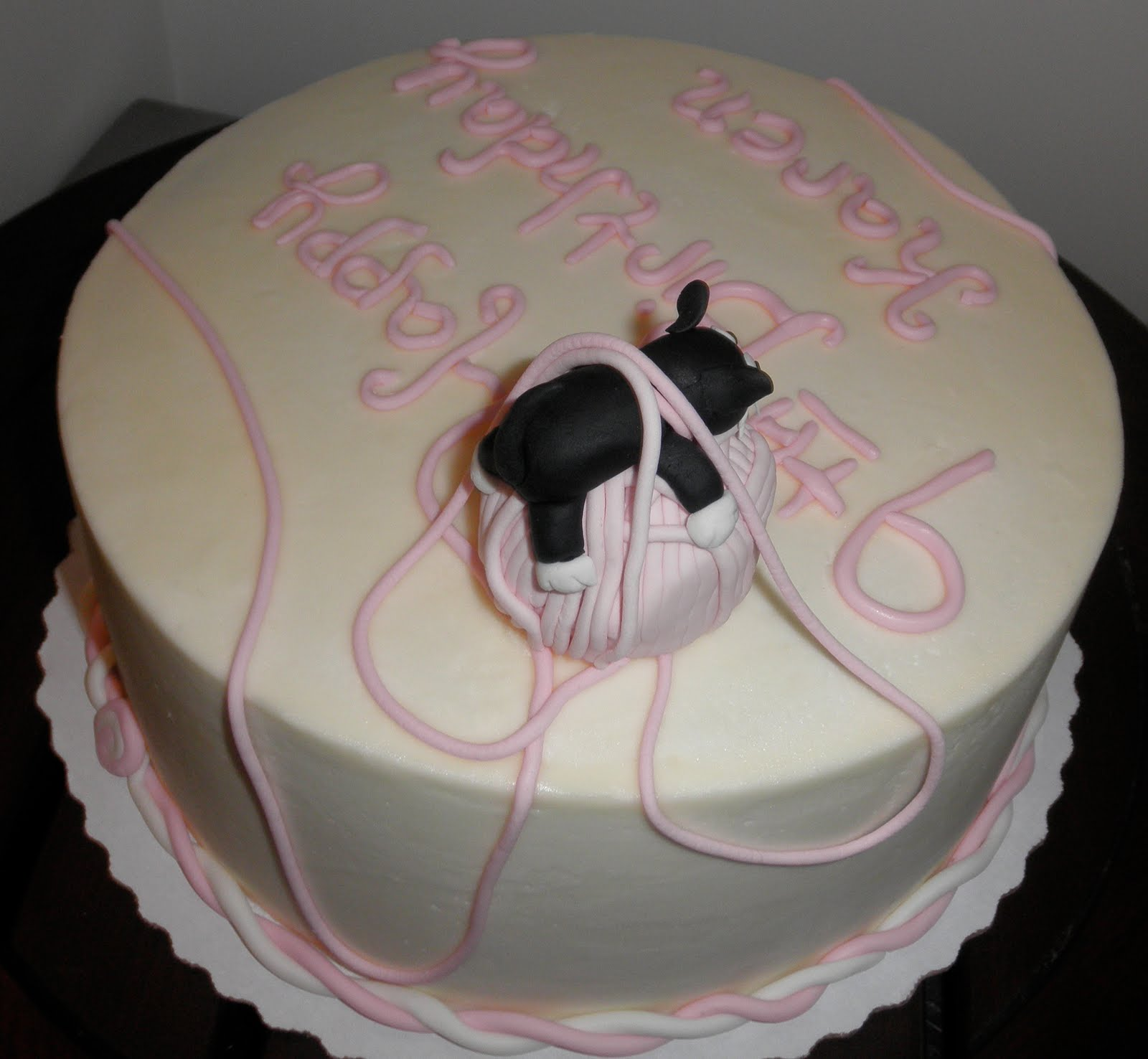 Black & White Cat on Pink Ball of Yarn Birthday Cake