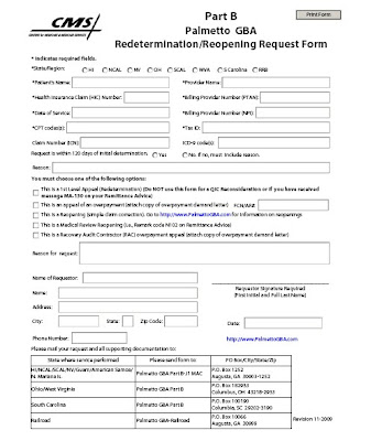 Medicare redetermination form