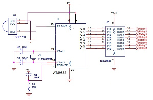 Circuit for controlling 8 appliances using TV Remote | Electronics ...
