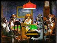 Jugar carta con perros jugando a los naipes