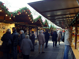 The stalls of the Neumarkt Christmas market