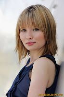 Emily Browning in blue a dress