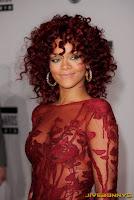 Rihanna in red dress