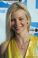 Amy Smart in little yellow silk dress