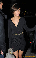 Frankie Sandford skin tight black dress