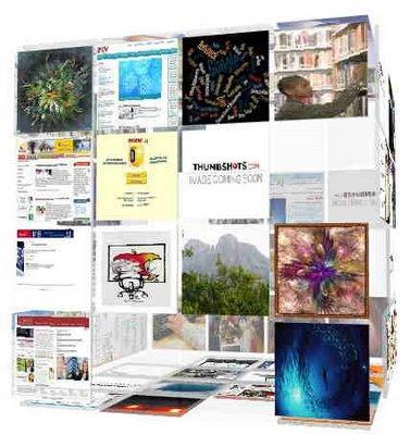 Search-cube.com Sökresultat visas som bilder på en kub