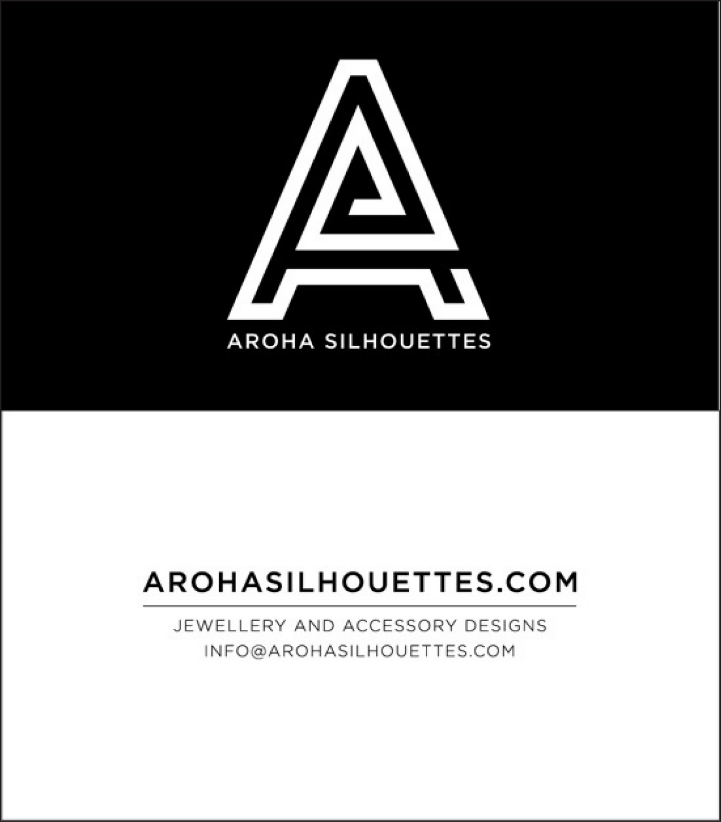 Aroha Silhouettes 2010 Business Cards Front and Back Black and White
