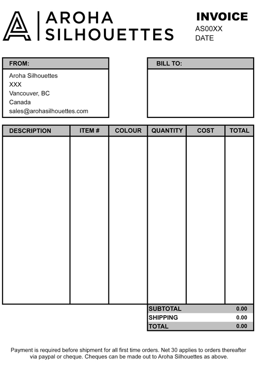 Aroha Silhouettes Invoice Template Layout Excel Free
